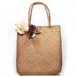NWT Boutique Straw Tote Bag Brown